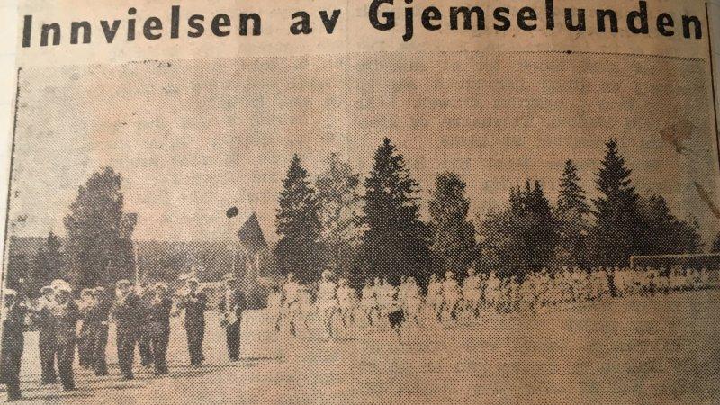 Bilde av åpningen av Gjemselund 14. juni 1953.