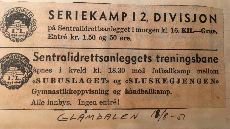 KIL annonserte åpningen av treningsbanen i Glåmdalen.