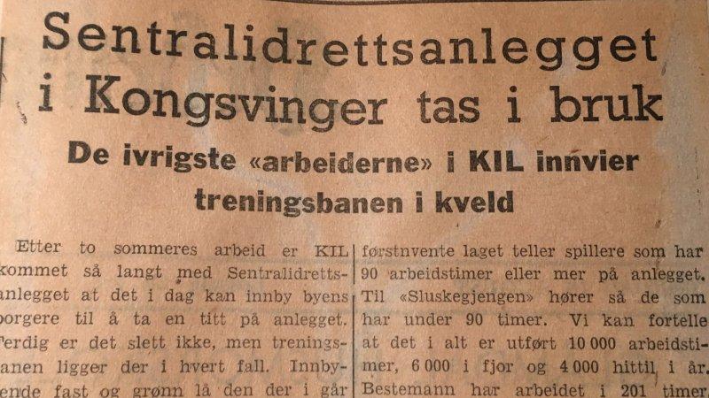 Utklipp fra Hedmarken Amtstidende i forbindelse med innvielsen av treningsbanen.